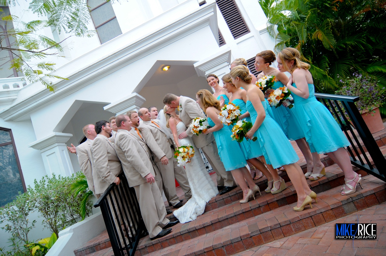 Wedding in front of Sanctuary St Paul's Key West Church